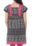 Black Tribal Dress with Pink Pom Pom