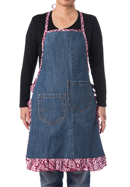 Riversible Denim Apron With Recycle Jeans with Batik Print - Design 1