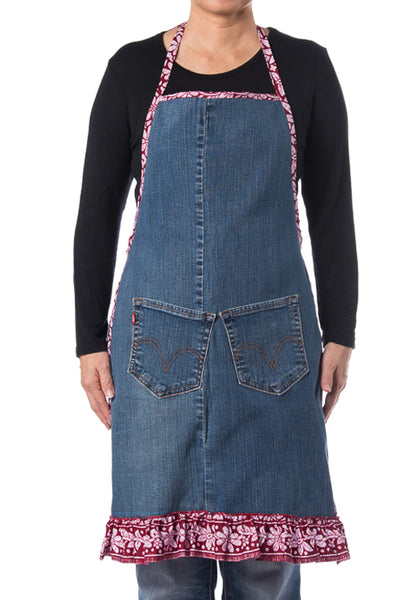 Riversible Denim Apron With Recycle Jeans with Batik Print - Design 2