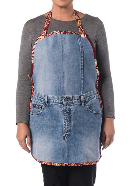 Riversible Denim Apron With Recycle Jeans with Batik Print