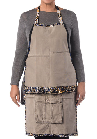 Riversible Denim Apron With Recycle Jeans with Keladi Motif