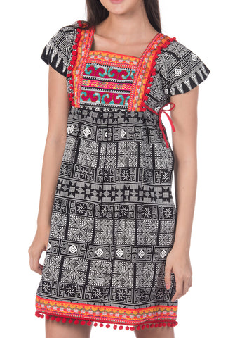 Black Tribal Dress with Red Pom Pom