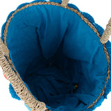 BLUE SMALL TOTE WITH RAINBOW POM-POM - DESIGN 1