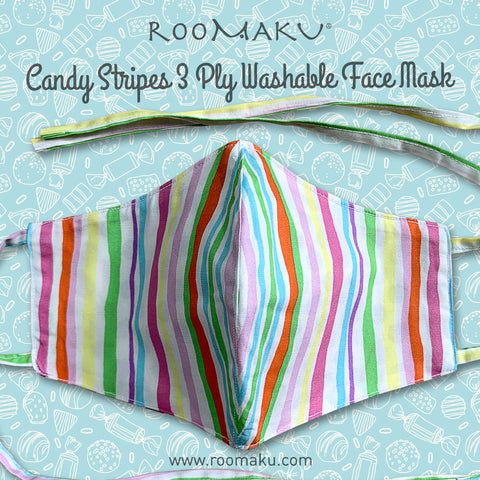 Candy Stripes 3 Ply Washable Face Mask