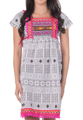 White Tribal Dress with Pink Pom Pom