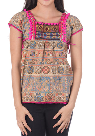 Beige Tribal Top with Pink Pom Pom
