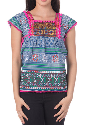 Blue Tribal Top with Pink Pom Pom