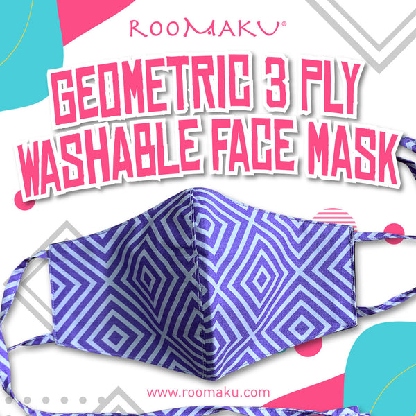 Geometric 3 Ply Washable Face Mask