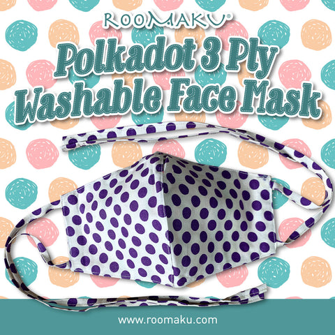 Polkadot 3 Ply Washable Face Mask