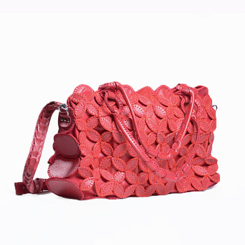 Leather Handbag - Red