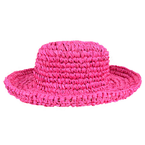 Fuschia Floppy Kids Straw Hat