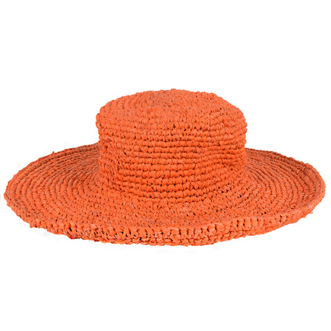 Orange Floppy Kids Straw Hat
