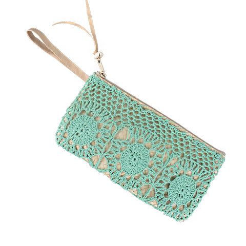 CROCHET OWL CLUTCH - DEW GREEN