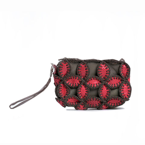 Leather Pouch Red/Grey