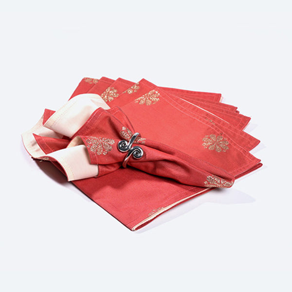 Songket Napkin Set - Mandarin Orange