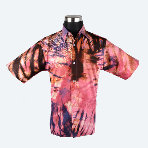 Batik Short Sleeve Shirt - Design 6