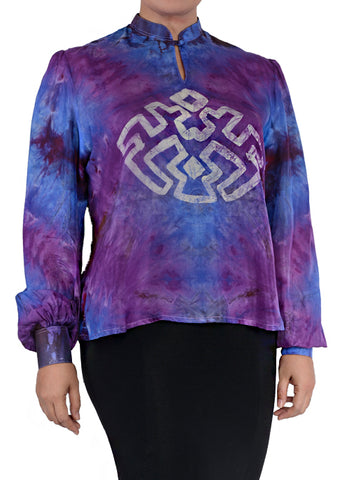 SHIBORI AZTEC WITH MANDARIN COLLAR - DESIGN 1