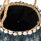 Lady Gaga Feather Round Tote Bag (Blue Black)