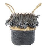Lady Gaga Feather Round Tote Bag (Black)