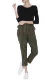 Stiripes Ankle pants – Olive Green