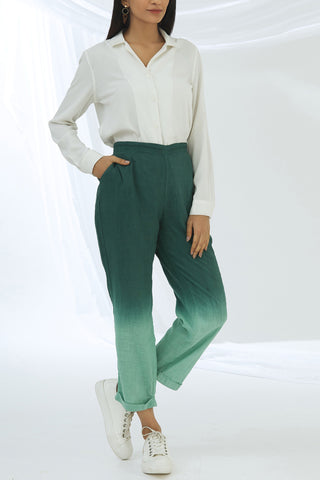 Ombre Straight Pants - Green