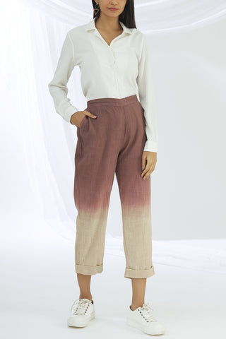 Ombre Straight Pants - Brown