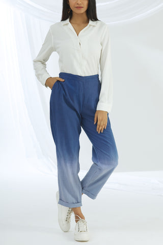 Ombre Straight Pants - Blue