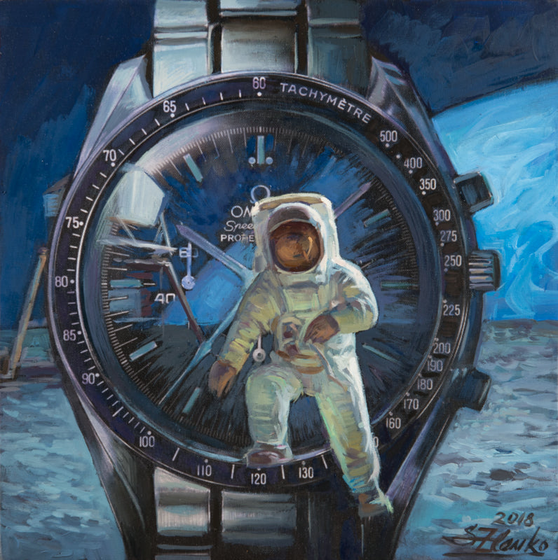 Omega and Rolex watches in art oil paintings by Zlenko Serguei, 2018 (Helsinki, Finland).