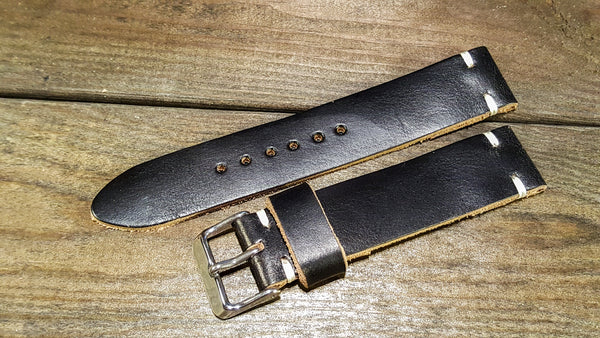 leather watch band, black chromexcel watch band, black leather watch band