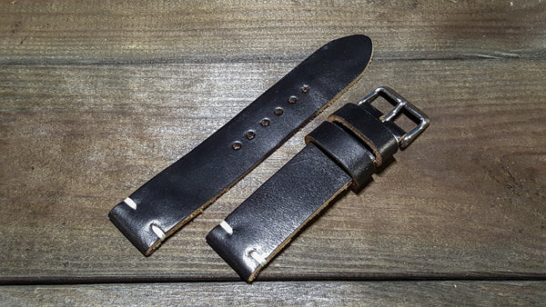 black leather watch band, black chromexcel watch band, black leather watch strap