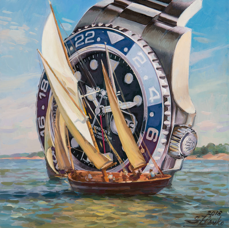 Rolex watch, Rolex Oyster Perpetual, Rolex art painting