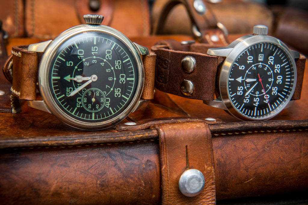 Vintage leather watch straps, made of ammunition surplus of 1900-1980th from Switzerland, Germany, France