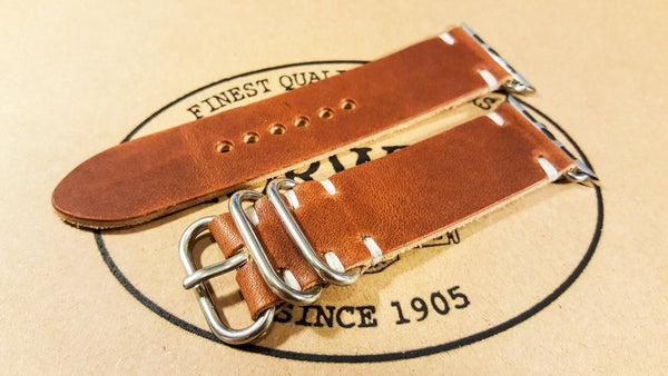 leather watch band, leather watch strap, Horween Dublin Cognac leather band, Horween Dublin Cognac leather strap