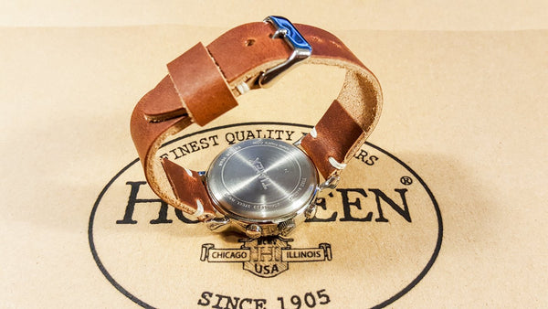 leather watch band, horween dublin cognac, leather watch strap