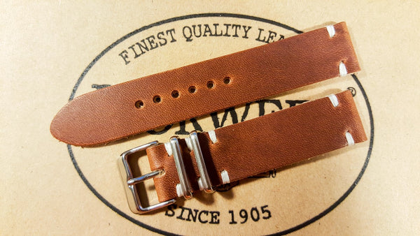 watch band, leather watch band, dublin cognac leather watch band, horween leather, finwatchstraps