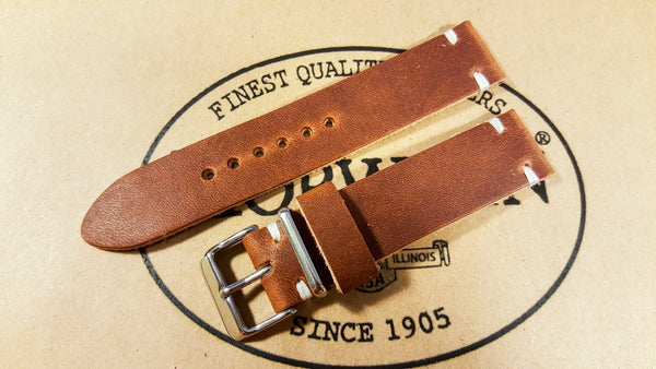 leather watch band, handmade watch strap, horween dublin cognac watch band
