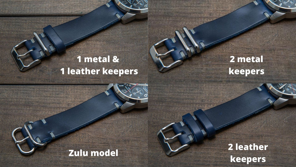Deep Sea Horween Cavalier leather watch strap, handmade in Finland