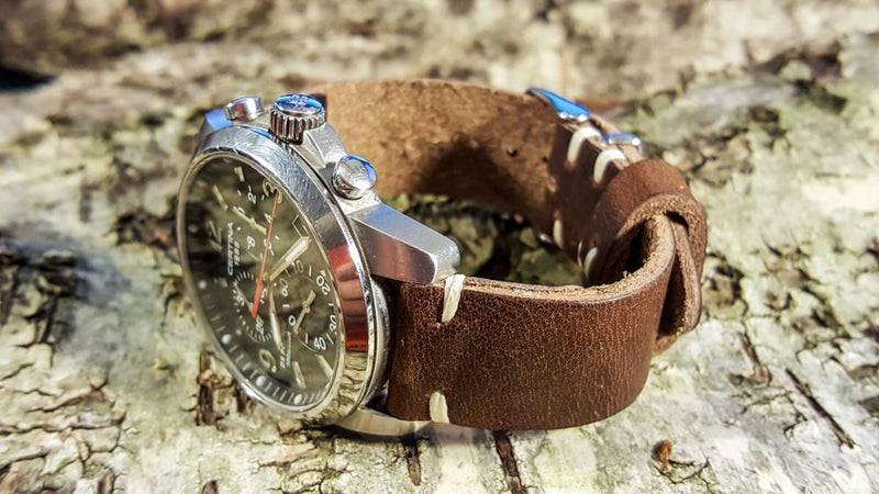 Derby Nut brown leather watch strap-16mm, 17 mm, 18mm, 19 mm, 20mm, 21 mm, 22mm, 23 mm, 24mm. Handmade in Finland.