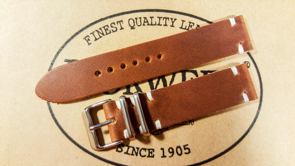 Dublin leather watch band, Cognac color, handmade in Finland - 16mm, 17 mm, 18mm, 19 mm, 20mm, 21 mm, 22mm, 23 mm, 24mm. - finwatchstraps