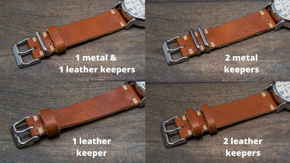 Horween Derby English Tan leather watch strap, handmade in Finland - finwatchstraps