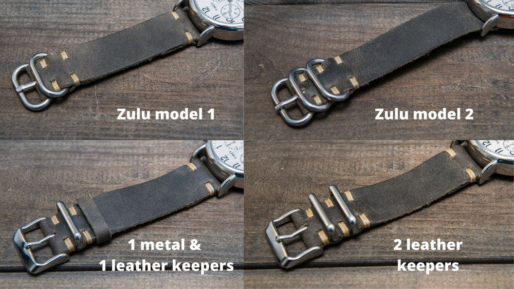 Military grey leather watch strap, handmade in Finland