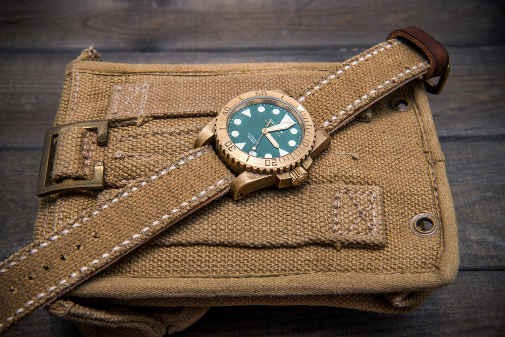 Vintage  Canvas ammo watch band, thickness 3 mm, made of army canvas pouches,  dates back to 1970th-1980th - finwatchstraps