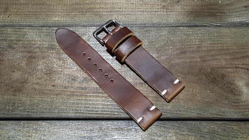Dark Brown Horween leather watch strap, handmade in Finland - finwatchstraps