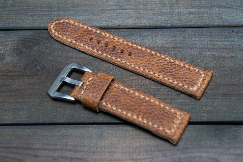 Buckaroo Tan leather watch strap, hand stitched,  handmade in Finland - 18mm, 19 mm, 20mm, 21 mm, 22mm, 23 mm, 24mm, 25 mm, 26 mm.