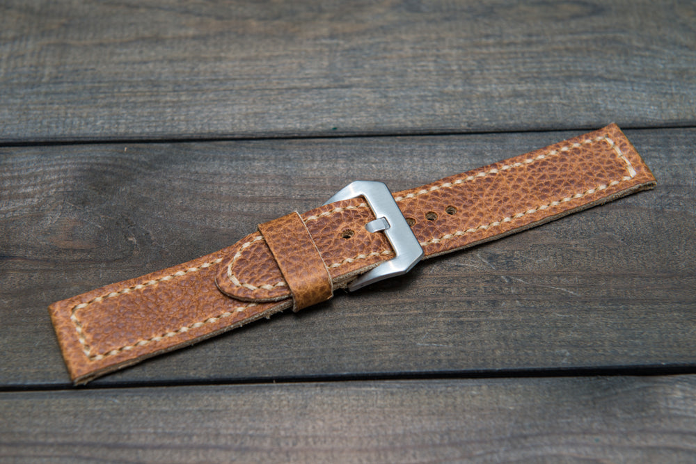 Buckaroo Tan leather watch strap, hand stitched,  handmade in Finland - 18mm, 19 mm, 20mm, 21 mm, 22mm, 23 mm, 24mm, 25 mm, 26 mm. - finwatchstraps