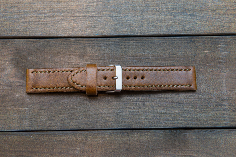 Horween Olive Camo leather watch strap, hand stitched,  handmade in Finland - 18mm, 19 mm, 20mm, 21 mm, 22mm, 23 mm, 24mm, 25 mm, 26 mm. - finwatchstraps