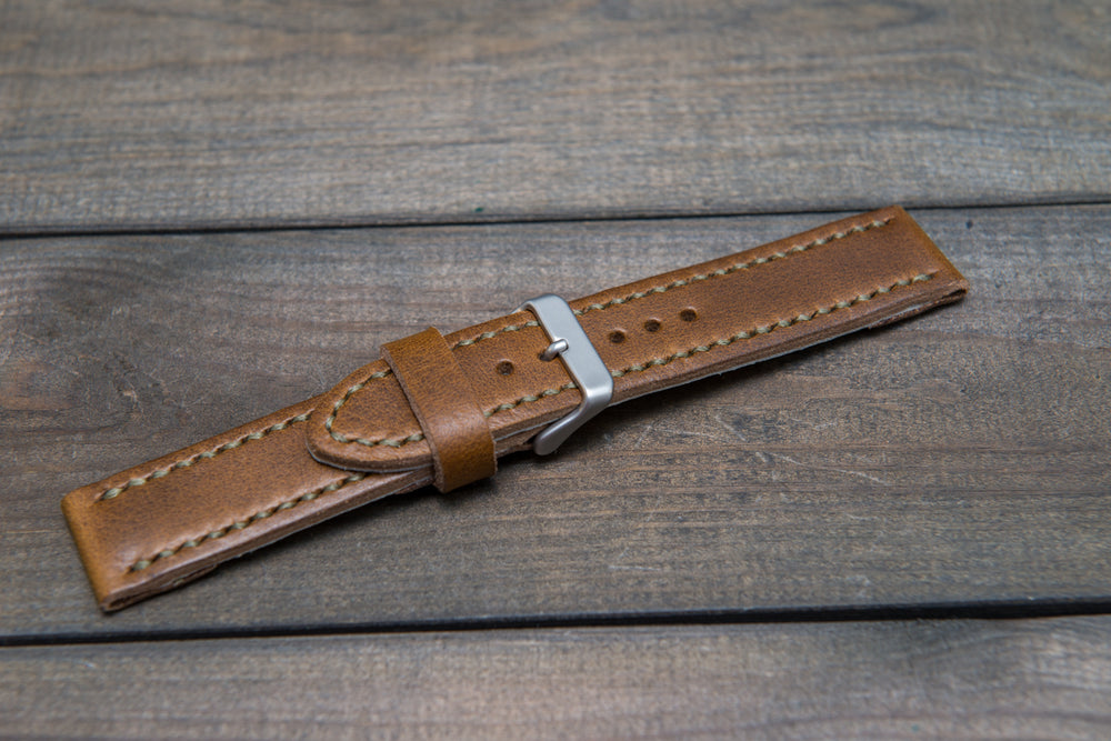 Horween Olive Chromexcel leather watch strap, hand stitched,  handmade in Finland - 18mm, 19 mm, 20mm, 21 mm, 22mm, 23 mm, 24mm, 25 mm, 26 mm. - finwatchstraps