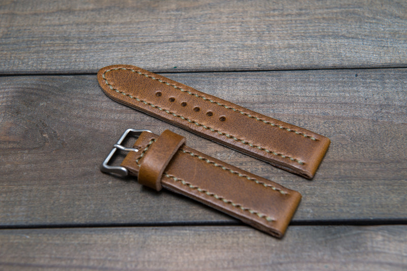 Horween Olive Camo leather watch strap, hand stitched,  handmade in Finland - 18mm, 19 mm, 20mm, 21 mm, 22mm, 23 mm, 24mm, 25 mm, 26 mm.