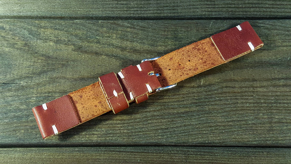 Canyon Horween leather watch strap, handmade in Finland - 16mm, 17 mm, 18mm, 19 mm, 20mm, 21 mm, 22mm, 23 mm, 24mm, 25 mm, 26mm. - finwatchstraps