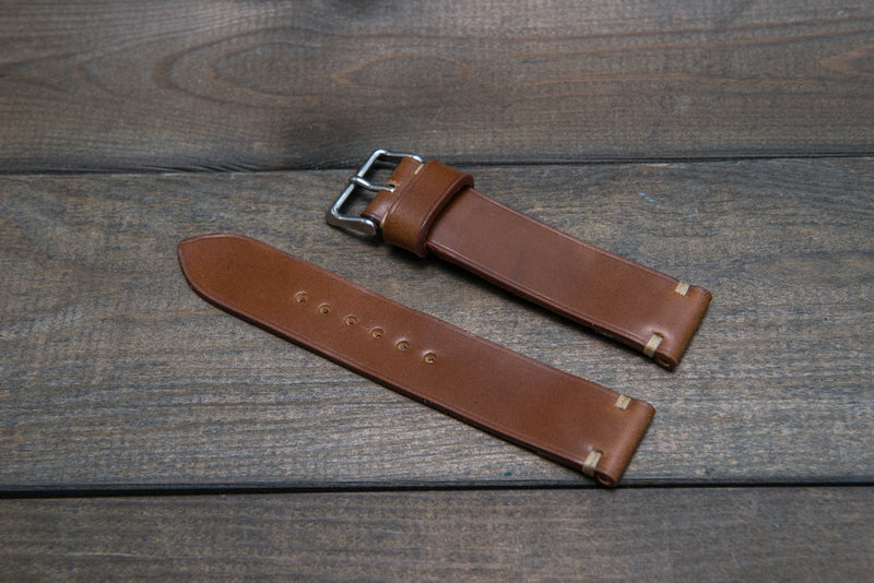 Shell Cordovan Cognac leather watch strap, handmade in Finland - 10 mm, 12 mm, 14 mm, 16mm, 17 mm, 18mm, 19 mm, 20mm, 21 mm, 22mm, 23 mm, 24mm, 25 mm, 26 mm. - finwatchstraps